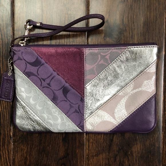 Coach Handbags - Coach wristlet patchwork purple